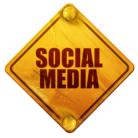 social media, 3D rendering, yellow road sign on a white background