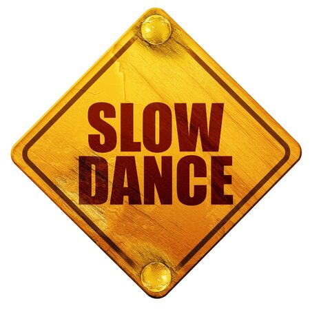 3d dance: slow dance, 3D rendering, yellow road sign on a white background Stock Photo