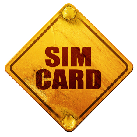 sim card: sim card, 3D rendering, yellow road sign on a white background Stock Photo