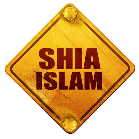 shia islam, 3D rendering, yellow road sign on a white background Stock Photo