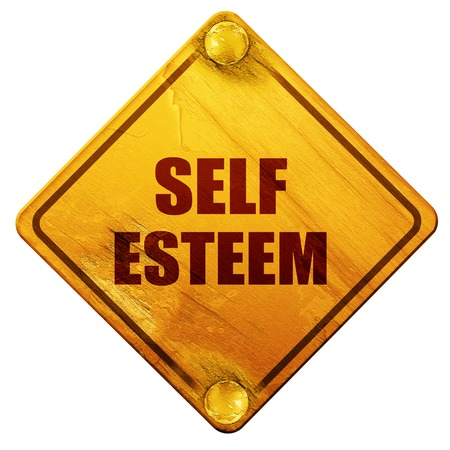 self esteem: self esteem, 3D rendering, yellow road sign on a white background