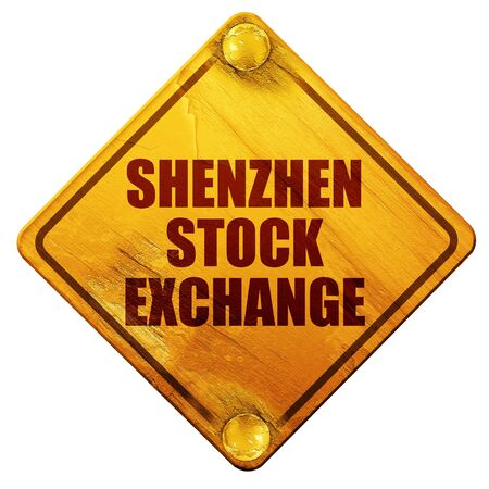hong kong street: shenzhen stock exchange, 3D rendering, yellow road sign on a white background