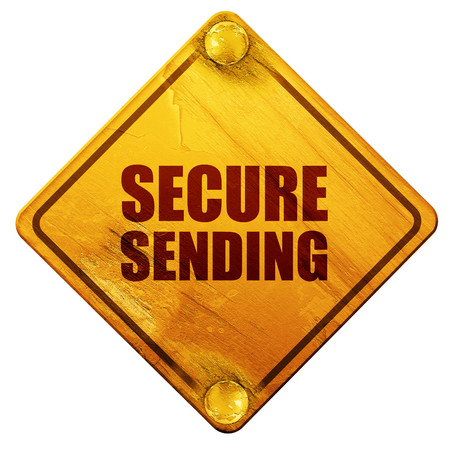 grungy email: secure sending, 3D rendering, yellow road sign on a white background