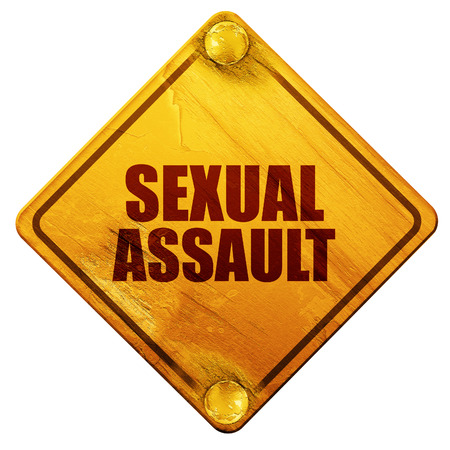 sexual: sexual assault, 3D rendering, yellow road sign on a white background