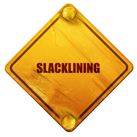 rope walker: slacklining, 3D rendering, yellow road sign on a white background Stock Photo