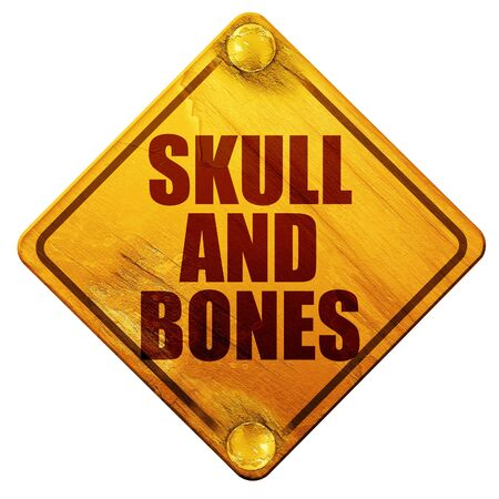 secret society: skull and bones, 3D rendering, yellow road sign on a white background