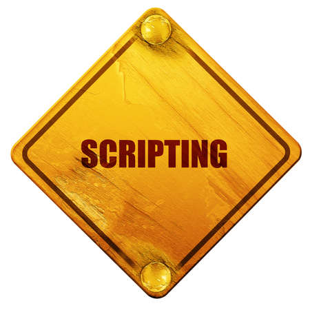 scripting: scripting, 3D rendering, yellow road sign on a white background