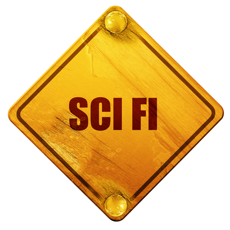 sci: sci fi, 3D rendering, yellow road sign on a white background Stock Photo