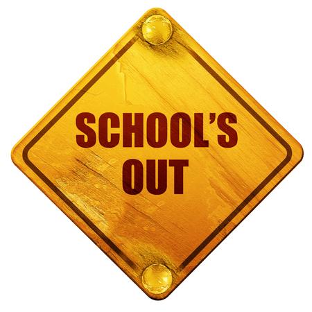 学校放假了,3D渲染,白色背景上的黄色路标