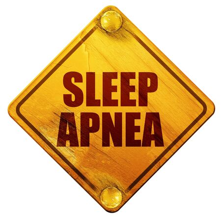 apnea: sleep apnea, 3D rendering, yellow road sign on a white background Stock Photo