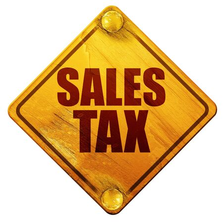 levy: sales tax, 3D rendering, yellow road sign on a white background