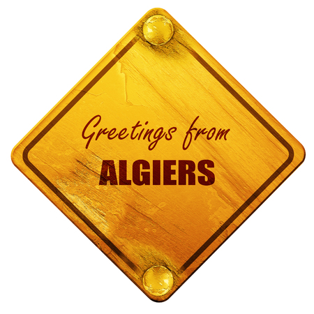 algiers: Greetings from algiers with some smooth lines, 3D rendering, yellow road sign on a white background