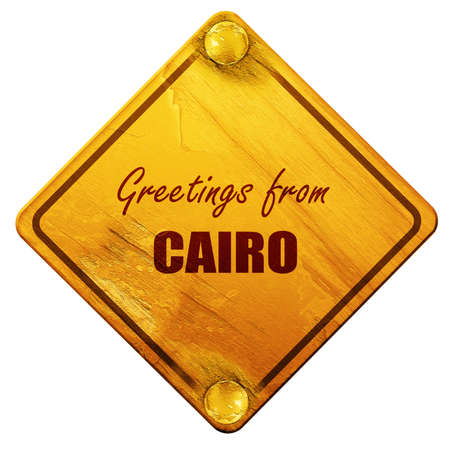 cairo: Greetings from cairo with some smooth lines, 3D rendering, yellow road sign on a white background