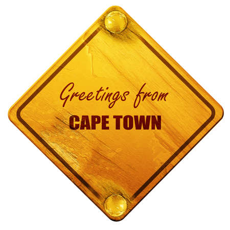 cape town: Greetings from cape town with some smooth lines, 3D rendering, yellow road sign on a white background Stock Photo
