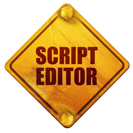 editor: script editor, 3D rendering, yellow road sign on a white background