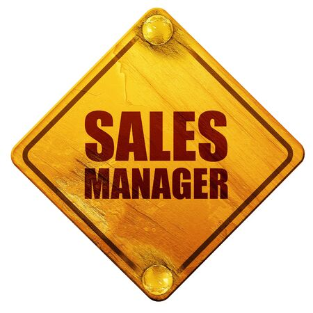 3d manager: sales manager, 3D rendering, yellow road sign on a white background