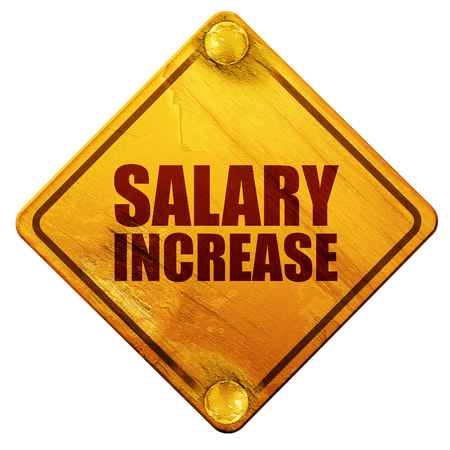 entrepreneurship: salary increase, 3D rendering, yellow road sign on a white background