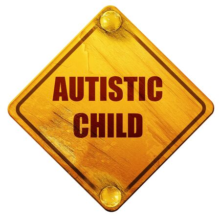 autistic: Autistic child sign with orange and black colors, 3D rendering, yellow road sign on a white background