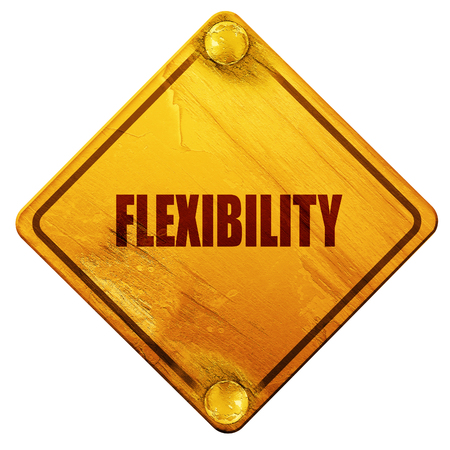 flexibility: flexibility, 3D rendering, yellow road sign on a white background Stock Photo