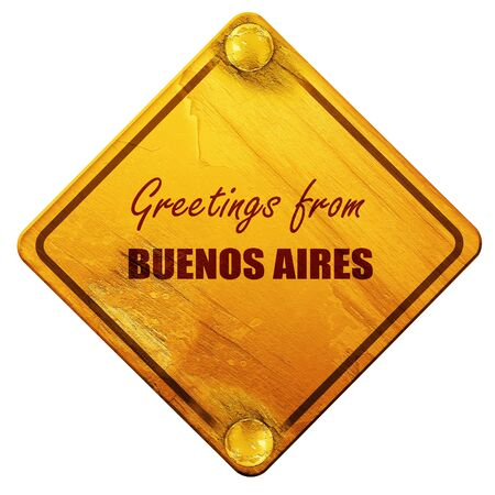 aires: Greetings from buenos aires with some smooth lines, 3D rendering, yellow road sign on a white background
