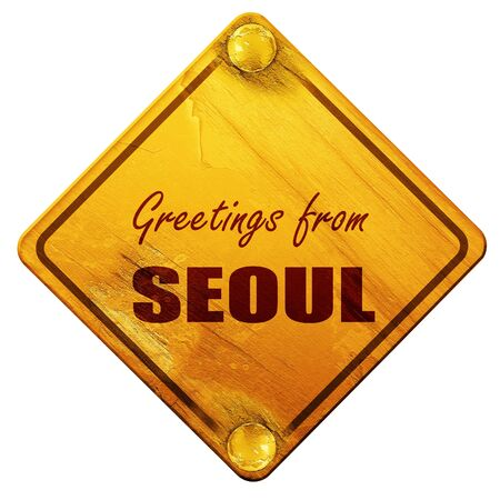 seoul: Greetings from seoul with some smooth lines, 3D rendering, yellow road sign on a white background Stock Photo