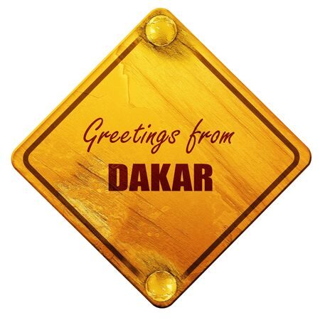 dakar: Greetings from dakar with some smooth lines, 3D rendering, yellow road sign on a white background