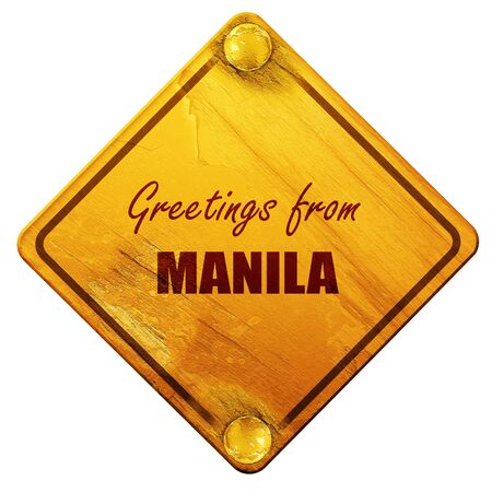 manila: Greetings from manila with some smooth lines, 3D rendering, yellow road sign on a white background