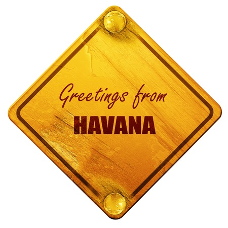 havana: Greetings from havana with some smooth lines, 3D rendering, yellow road sign on a white background