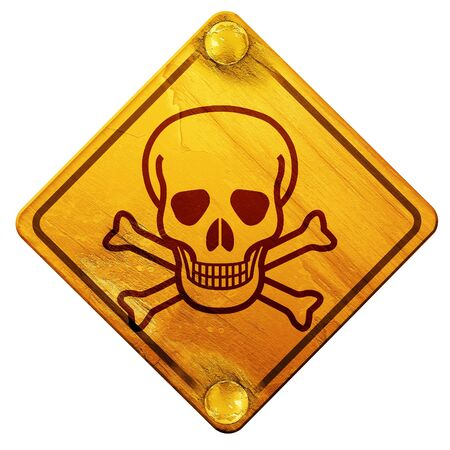 poison sign: Poison sign background with some soft scratches and dents, 3D rendering, yellow road sign on a white background