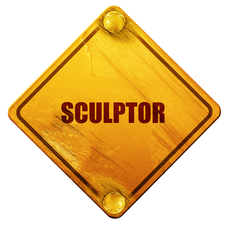 sculptor: sculptor, 3D rendering, yellow road sign on a white background Stock Photo