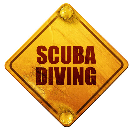 submerged: scuba diving, 3D rendering, yellow road sign on a white background