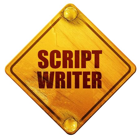 writer: script writer, 3D rendering, yellow road sign on a white background
