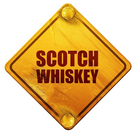 scotch: scotch whiskey, 3D rendering, yellow road sign on a white background