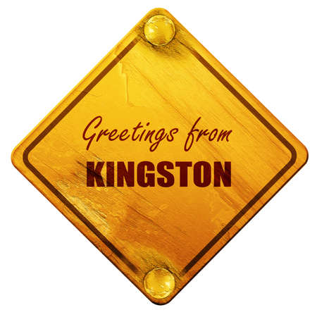 kingston: Greetings from kingston with some smooth lines, 3D rendering, yellow road sign on a white background
