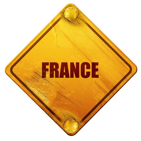 french culture: Greetings from france card with some soft highlights, 3D rendering, yellow road sign on a white background Stock Photo