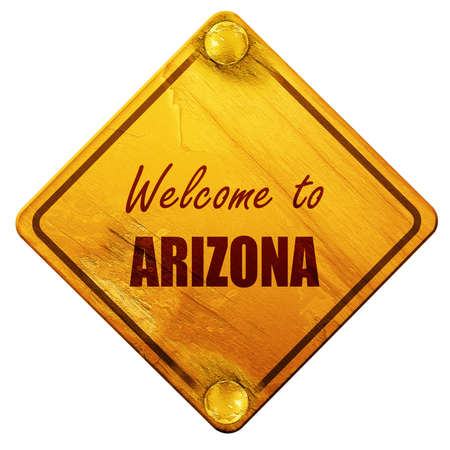 wit: Welcome to arizona wit some smooth lines, 3D rendering, yellow road sign on a white background Stock Photo