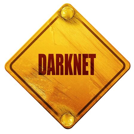 resisting: Darknet internet background with some soft smooth lines, 3D rendering, yellow road sign on a white background