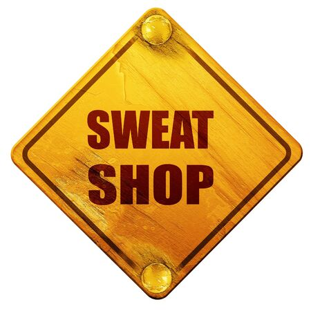 sweat: Sweat shop background with some smooth lines, 3D rendering, yellow road sign on a white background