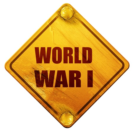 world war 1: World war 1 background with some smooth lines, 3D rendering, yellow road sign on a white background