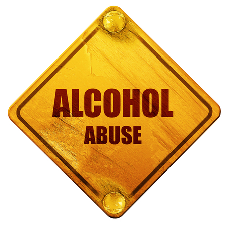 alcohol abuse: Alcohol abuse sign with some soft flowing lines, 3D rendering, yellow road sign on a white background