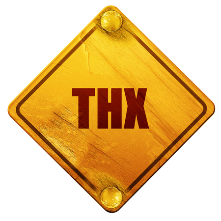 slang: thx internet slang with some soft smooth lines, 3D rendering, yellow road sign on a white background Stock Photo