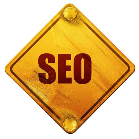 metasearch: Search engine optimalization with some smooth signs, 3D rendering, yellow road sign on a white background Stock Photo