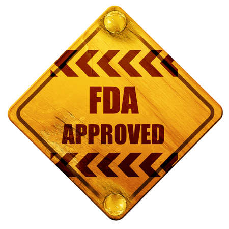 fda: FDA approved background with some smooth lines, 3D rendering, yellow road sign on a white background Stock Photo