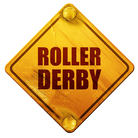 roller derby, 3D rendering, yellow road sign on a white background