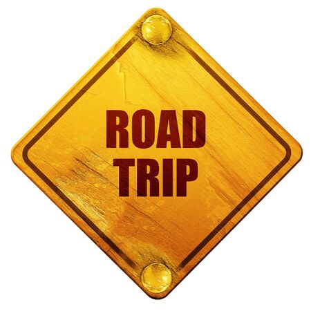 roadtrip: roadtrip, 3D rendering, yellow road sign on a white background