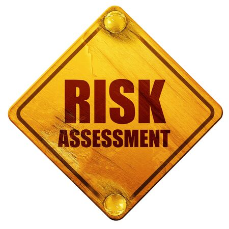 risk assessment, 3D rendering, yellow road sign on a white background