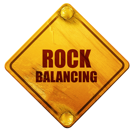 rock balancing, 3D rendering, yellow road sign on a white background