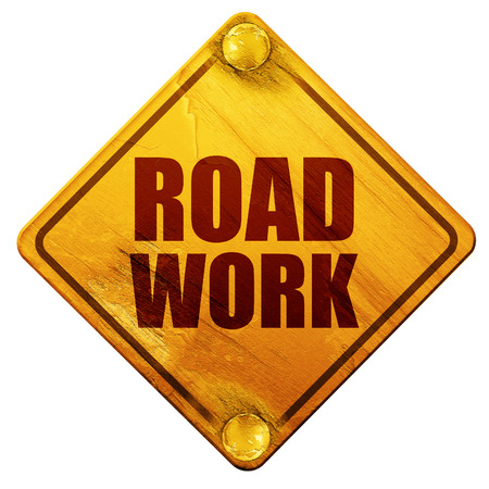 roadwork: road work, 3D rendering, yellow road sign on a white background