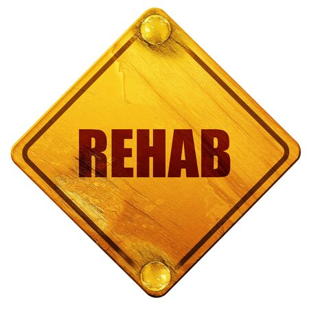 rehab: rehab, 3D rendering, yellow road sign on a white background Stock Photo