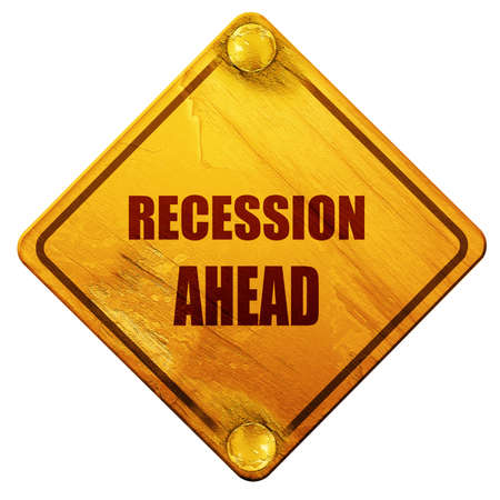 regiment: recession ahead, 3D rendering, yellow road sign on a white background